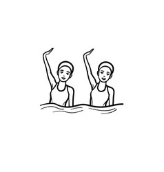 synchronized swimming hand drawn outline doodle vector image