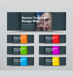 template horizontal black web banners in the vector image