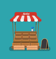 Traditional market empty wooden food vector