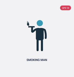 Two color smoking man icon from people concept vector