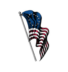 usa first flag in engraved style vector image