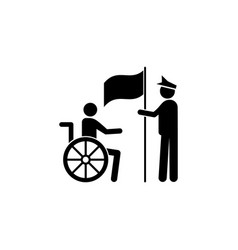 Veteran wheelchair handicap icon can be used for vector