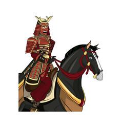 Warrior samurai with armor traditional riding vector
