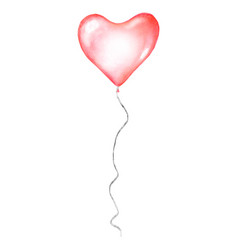 Watercolor red flying balloon in shape heart vector