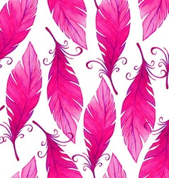 Watercolor seamless pattern with bird feathers vector image