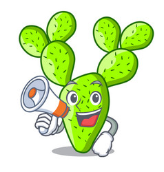 With megaphone opuntia cactus isolated on vector