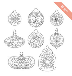 collection black line ornate christmas ball vector image vector image