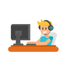 gaming man with headphones vector image