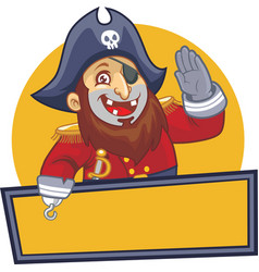 Pirate salute with blank sign vector image vector image