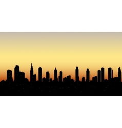 skyline aerial view at sunset with skyscrapers vector image