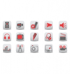 video and audio icons vector image vector image