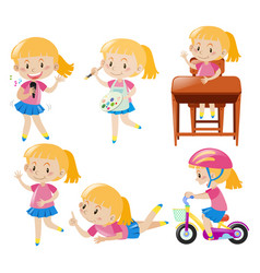 girl doing different activities vector image vector image