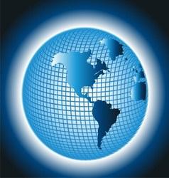 Globe Grid Design on Blue Background vector image vector image