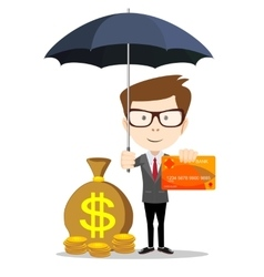 Man protecting his money vector image
