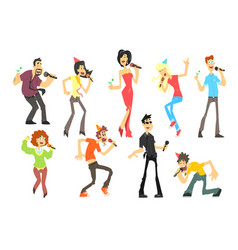 men and women singing karaoke with microphones set vector image