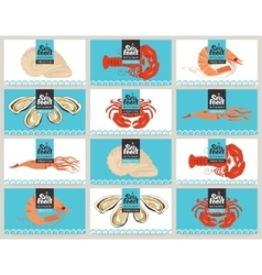 business cards with seafood vector image