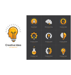 creative idea logo set with human head brain vector image vector image