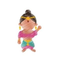 Indian woman dancing cartoon design vector