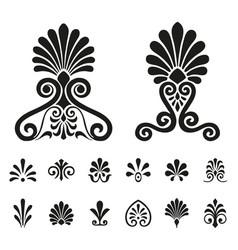 palmettes elements symbols set vector image vector image