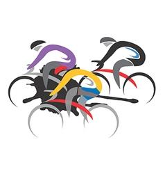 Three cyclist racers vector