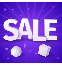 White text sale with sphere and box on blue vector image vector image