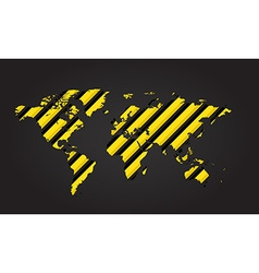 World map of yellow and black stripes danger vector image vector image