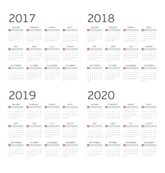 Calendar for four years vector image