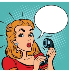 Comic girl talking on the phone vector image vector image
