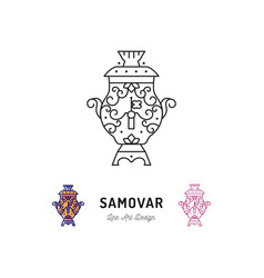samovar tea russian food and drink traveling in vector image