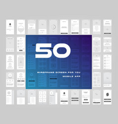 50 in 1 ui kits wireframes screens for your vector image