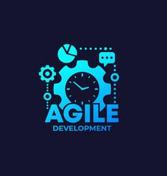 Agile software development process icon on dark vector