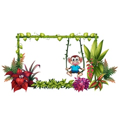 An empty frame made of bamboo with a monkey vector image