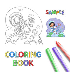 Astronaut coloring page vector