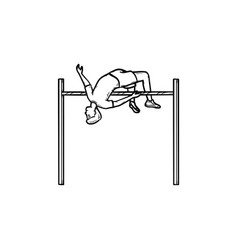 Athlete performing high jump hand drawn outline vector
