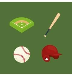 baseball ball field bat hat vector image