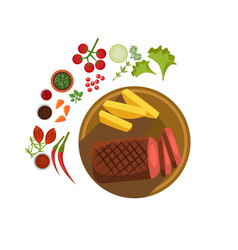 bbq steak on plate vector image