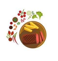 Bbq steak on plate vector