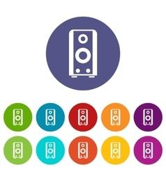 Black sound speaker set icons vector image