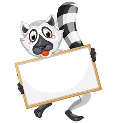 Blank sign template with cute lemur on white vector