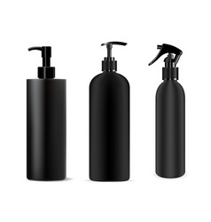 Bottle black spray cosmetic dispenser mockup vector