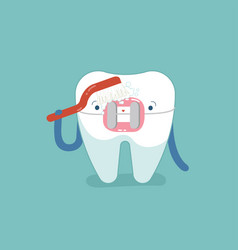 brace tooth brushing with toothbrush dental vector image