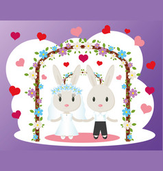Bunnies wedding card vector