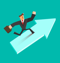 businessman run on a growing arrow success vector image