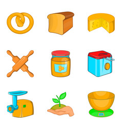 Butty icons set cartoon style vector