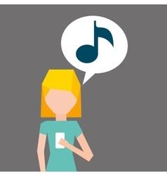Cartoon girl smartphone music social media graphic vector