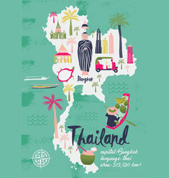 cartoon map thailand print design vector image
