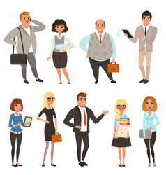 Cartoon set of office managers and workers in vector