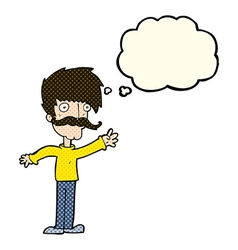 Cartoon waving mustache man with thought bubble vector