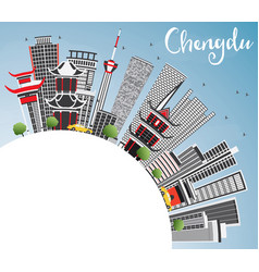 Chengdu skyline with gray buildings blue sky and vector