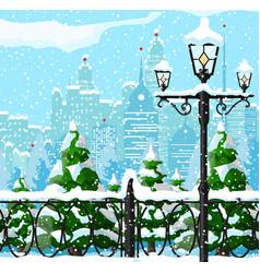 Christmas city winter landscape vector